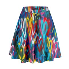 Graffiti Hearts Street Art Spray Paint Rad High Waist Skirt by MAGA