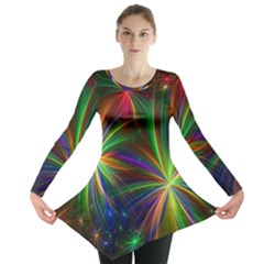 Colorful Firework Celebration Graphics Long Sleeve Tunic  by Sapixe