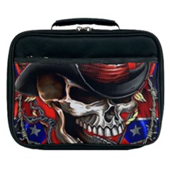 Confederate Flag Usa America United States Csa Civil War Rebel Dixie Military Poster Skull Lunch Bag by Sapixe