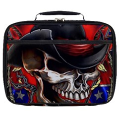 Confederate Flag Usa America United States Csa Civil War Rebel Dixie Military Poster Skull Full Print Lunch Bag by Sapixe