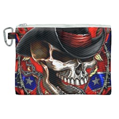 Confederate Flag Usa America United States Csa Civil War Rebel Dixie Military Poster Skull Canvas Cosmetic Bag (xl) by Sapixe