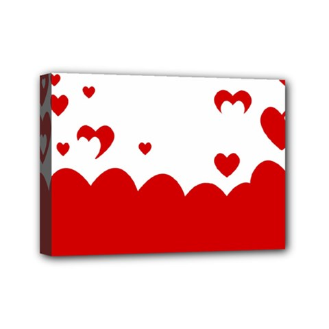 Heart Shape Background Love Mini Canvas 7  X 5