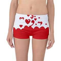 Heart Shape Background Love Reversible Boyleg Bikini Bottoms