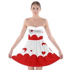Heart Shape Background Love Strapless Bra Top Dress