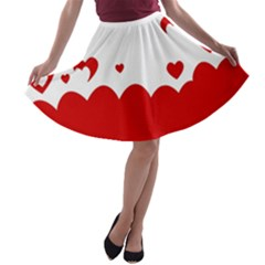 Heart Shape Background Love A Line Skater Skirt