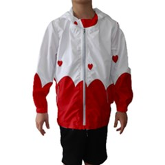 Heart Shape Background Love Hooded Wind Breaker (kids)