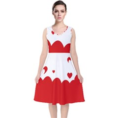 Heart Shape Background Love V Neck Midi Sleeveless Dress