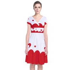 Heart Shape Background Love Short Sleeve Front Wrap Dress
