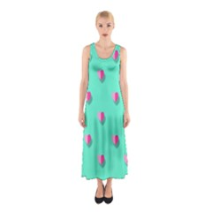 Love Heart Set Seamless Pattern Sleeveless Maxi Dress