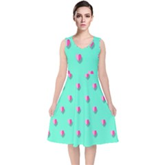 Love Heart Set Seamless Pattern V Neck Midi Sleeveless Dress