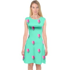 Love Heart Set Seamless Pattern Capsleeve Midi Dress