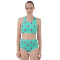 Love Heart Set Seamless Pattern Racer Back Bikini Set