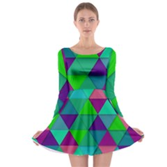 Background Geometric Triangle Long Sleeve Skater Dress