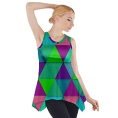 Background Geometric Triangle Side Drop Tank Tunic
