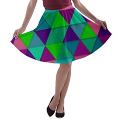 Background Geometric Triangle A Line Skater Skirt