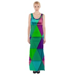 Background Geometric Triangle Maxi Thigh Split Dress