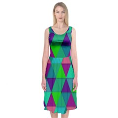 Background Geometric Triangle Midi Sleeveless Dress