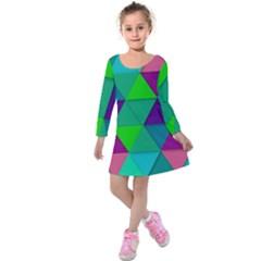 Background Geometric Triangle Kids  Long Sleeve Velvet Dress