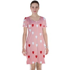 Heart Shape Background Love Short Sleeve Nightdress