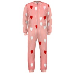 Heart Shape Background Love Onepiece Jumpsuit (men)