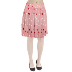 Heart Shape Background Love Pleated Skirt