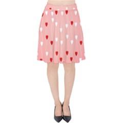 Heart Shape Background Love Velvet High Waist Skirt