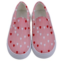 Heart Shape Background Love Kids  Canvas Slip Ons