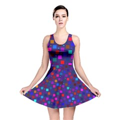 Squares Square Background Abstract Reversible Skater Dress