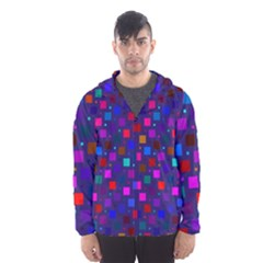 Squares Square Background Abstract Hooded Wind Breaker (men)
