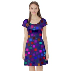 Squares Square Background Abstract Short Sleeve Skater Dress
