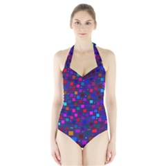 Squares Square Background Abstract Halter Swimsuit