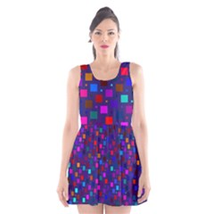 Squares Square Background Abstract Scoop Neck Skater Dress