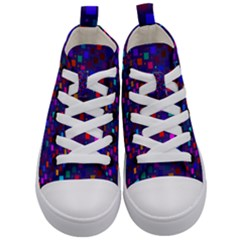 Squares Square Background Abstract Kid s Mid Top Canvas Sneakers