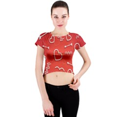 Background Valentine S Day Love Crew Neck Crop Top