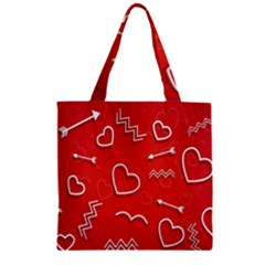 Background Valentine S Day Love Zipper Grocery Tote Bag