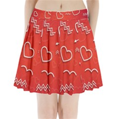 Background Valentine S Day Love Pleated Mini Skirt