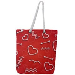 Background Valentine S Day Love Full Print Rope Handle Tote (large)