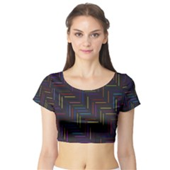 Lines Line Background Short Sleeve Crop Top