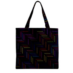 Lines Line Background Zipper Grocery Tote Bag