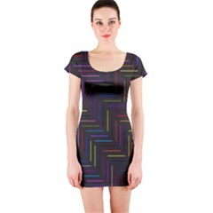Lines Line Background Short Sleeve Bodycon Dress