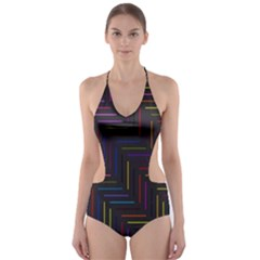 Lines Line Background Cut Out One Piece Swimsuit