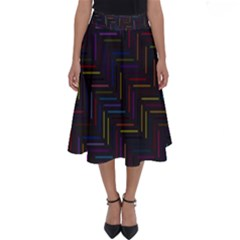 Lines Line Background Perfect Length Midi Skirt