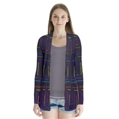 Lines Line Background Drape Collar Cardigan