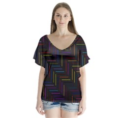 Lines Line Background V Neck Flutter Sleeve Top