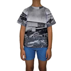 Omaha Airfield Airplain Hangar Kids  Short Sleeve Swimwear