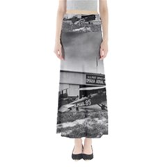 Omaha Airfield Airplain Hangar Full Length Maxi Skirt