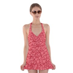 Background Hearts Love Halter Dress Swimsuit