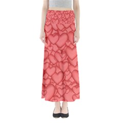 Background Hearts Love Full Length Maxi Skirt
