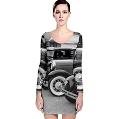 Vehicle Car Transportation Vintage Long Sleeve Velvet Bodycon Dress