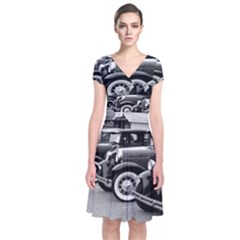 Vehicle Car Transportation Vintage Short Sleeve Front Wrap Dress
